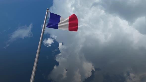 Frankreich-Flagge wehend 4K