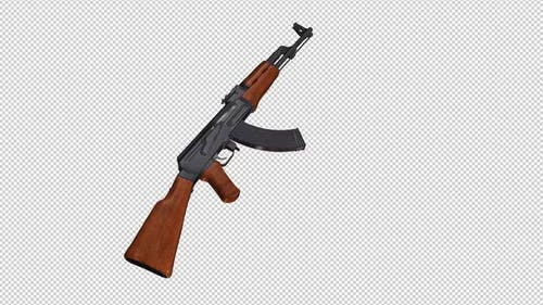 Military Gun - Russian Kalashnikov AK 47 - 4K Transparent Transition