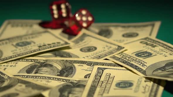 Thumbnail for Dice rolling on money, risky financial investments, stock exchange gambling
