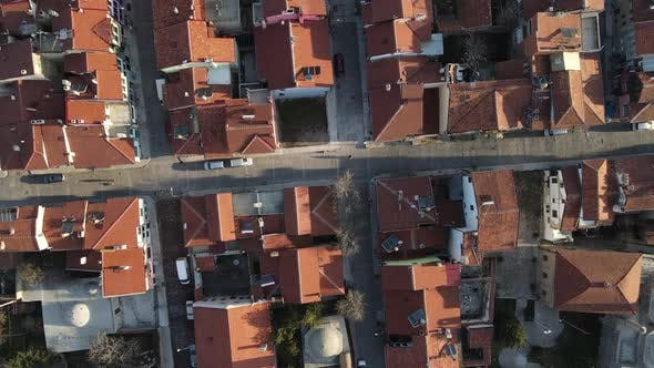 Top Aerial Drone View House Roofs