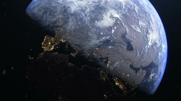 Zoom In Earth Europe During Sunrise