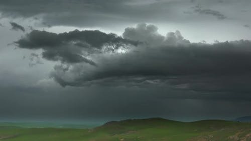 A Real Supercell Typhoon is Approaching With Storm Clouds
