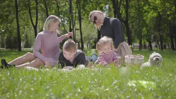 Thumbnail for Portrait Young Family Outdoor Recreation. Two Beautiful Young Mothers and Their Children at a Picnic