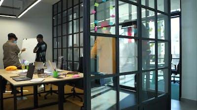 Masked Startup Team During Work in Modern Office