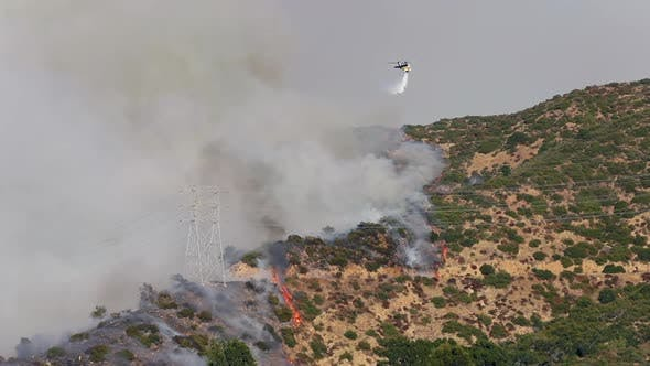 Thumbnail for Getty Fire. View Over the Burning Area and a Fire Extinguishing Helicopter