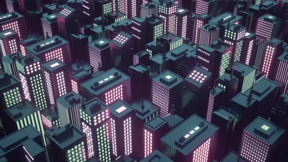 Cyberpunk Futuristic City with Skyscrapers