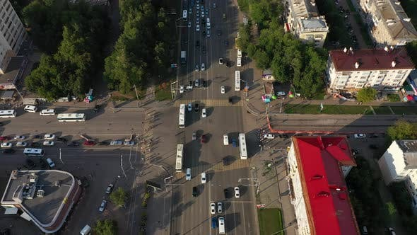Aerial Photography of the City of Ufa on October Avenue Galle Street in Summer