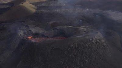 Drone Over Smoking Fagradalsfjall Volcano