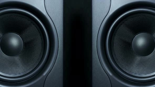Thumbnail for of Two Round Audio Sub-woofers Vibrating