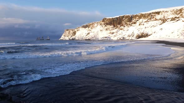 Thumbnail for Iceland Vik Black Sand Beach View Of Ocean And Basalt Rock Formations 3
