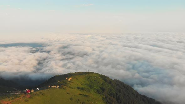 Thumbnail for Scenic Gomis Mountain With Cloudscape.Birds Eye View