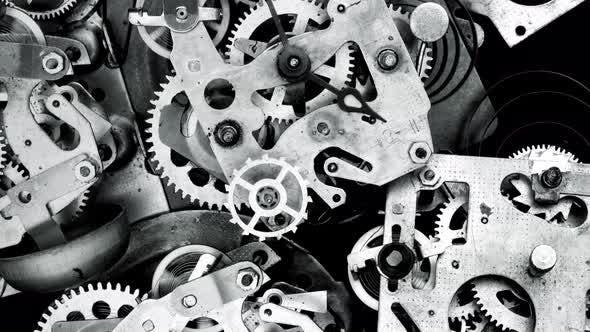 Watch Mechanism Macro loop.Old Vintage Clock Mechanism Working, Closeup Shot with Soft focus.Close