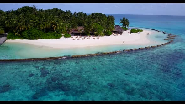 Thumbnail for Aerial drone scenery of luxury shore beach adventure by aqua blue lagoon with white sand background