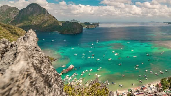 Aerial View on the El Nido Bay and Boats on the Sea From the Top Taraw Cliff on the Palawan Island