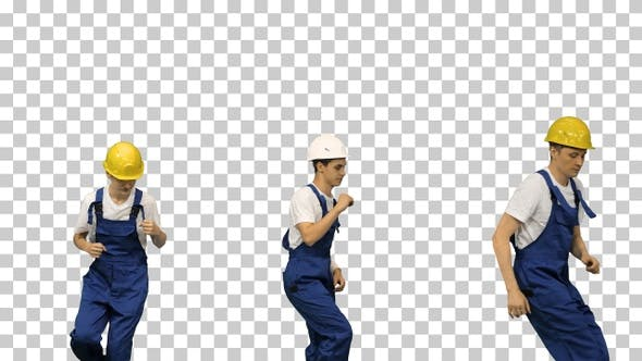 Thumbnail for Three male construction workers in hard, Alpha Channel