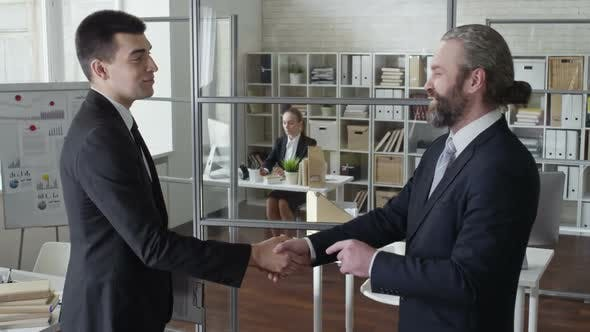 Thumbnail for Businessman Shaking Hands with Young Business Partner