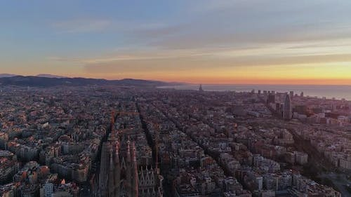 Aerial Townscape at Sunrise. Barcelona, Spain