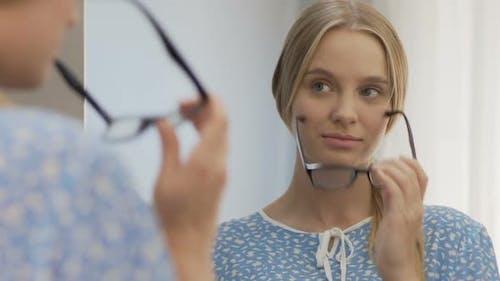 Geek Girl Taking Off Glasses and Unlacing Hair, Natural Beauty, Self-Esteem