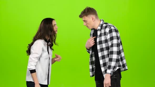 Thumbnail for Couple in Love Quarrel, Swear, the Guy Leaves. Green Screen