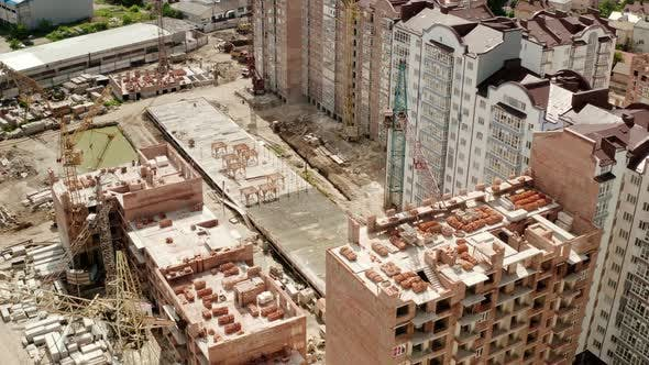 Thumbnail for Aerial Drone View of Construction Building in City. Top View