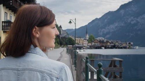 Woman Walking on the Promenade in Hallstatt