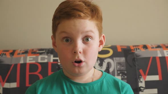 Thumbnail for Little Red-haired Boy Sitting on the Sofa and Looking Into Camera with Shocked Expression. Close Up