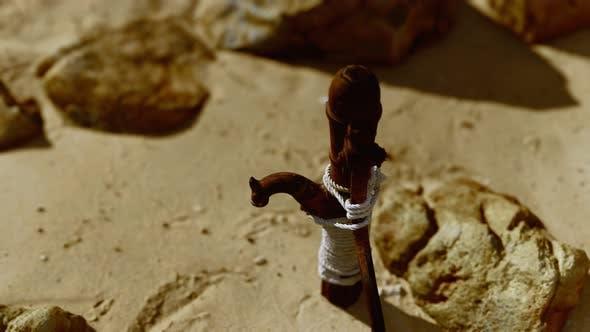 Alte Verlassene Handwasserpumpe in der Wüste