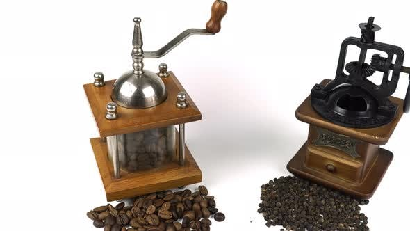 Cover Image for Retro Coffee Mill With Coffee Beans And Peppers