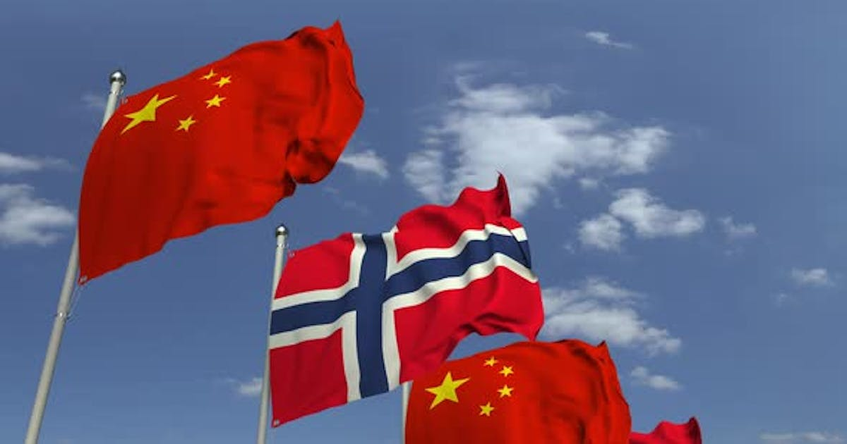 Flags of Norway and China at International Meeting