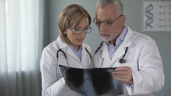 Thumbnail for Two Doctors Checking Lungs X-Ray, Having Discussion on Diagnosis, Pulmonology