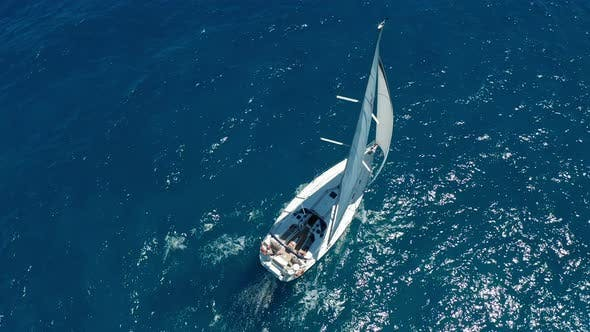 Thumbnail for Aerial View. Sailing Yachts with White Sails in the Open Sea
