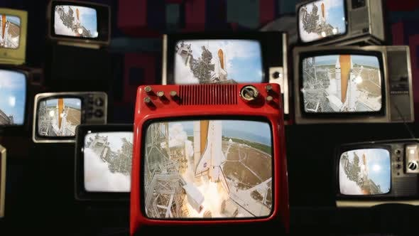 Space Shuttle Launch and Vintage Televisions.