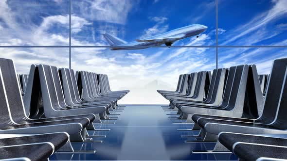 Thumbnail for Large Passenger Airplane Taking off against Blue Cloudscape as Seen from Departure Hall