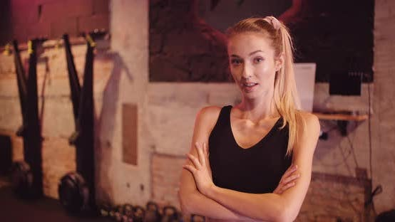 Thumbnail for Portrait of Concentrated Woman Looking Camera in Fitness Gym