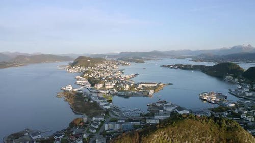 Alesund City on the West Coast of Norway at Sunset Aerial View