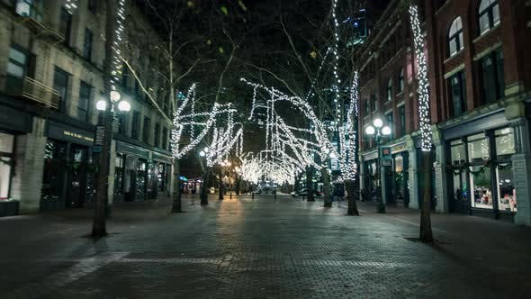 Seattle Pioneer Square Hyperlapse Christmas Lights On Winter Night
