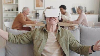 Man Enjoying Virtual Reality Headset