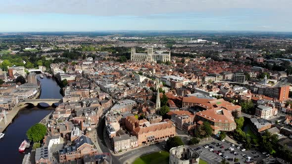 Thumbnail for Aerial footage of the town of York