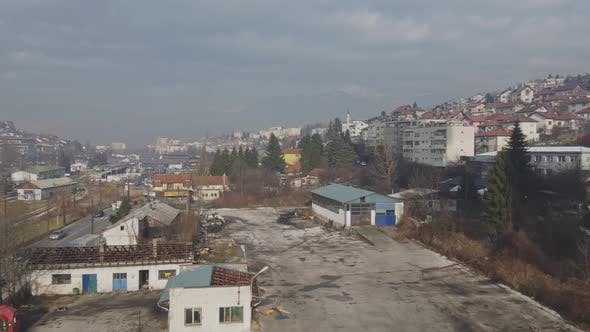 Thumbnail for Aerial Shot Of Abandoned Town Buildings In Sarajevo