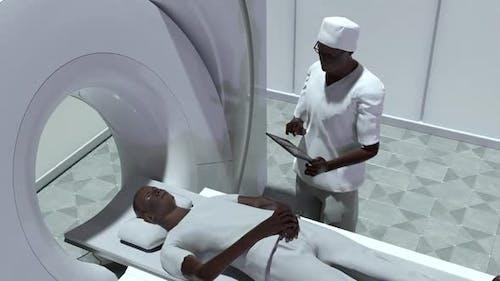 Man And MRI Machine