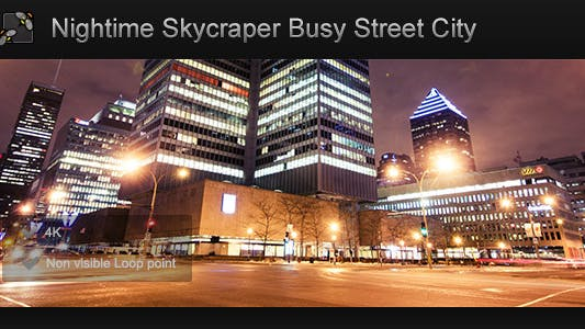 Thumbnail for Montreal Night time Skyscraper Busy Street City