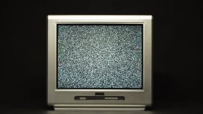 Retro Old Television on Black Background