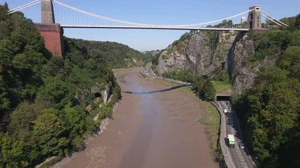 Aerial Shot Flying Along a Riverbed
