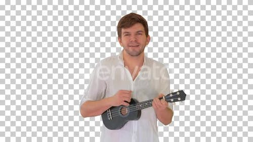 Young man playing ukulele and signing, Alpha Channel