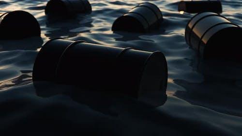 Toxic Waste Barrels Swims in Dark Water