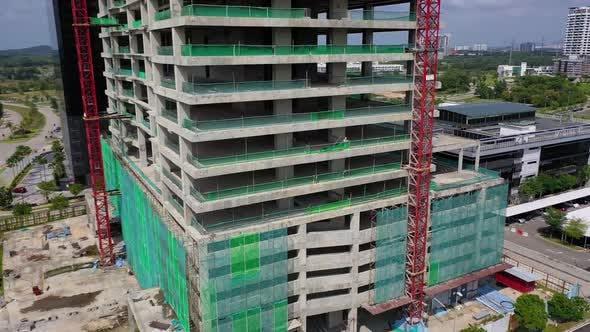 Thumbnail for Building Construction Site Drone Shot 4K