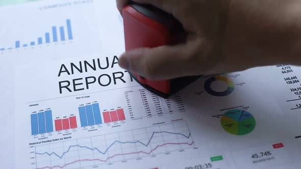 Thumbnail for Annual Report Rejected, Hand Stamping Seal on Official Document, Statistics