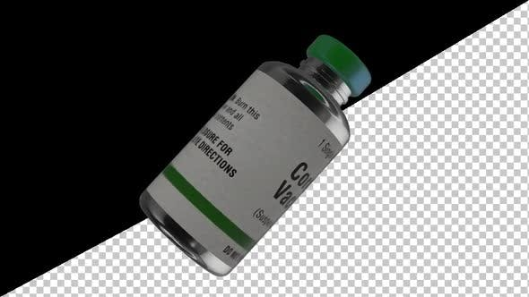 Coronavirus Covid -19 Vaccine Bottle Rotate With Alpha - 4K