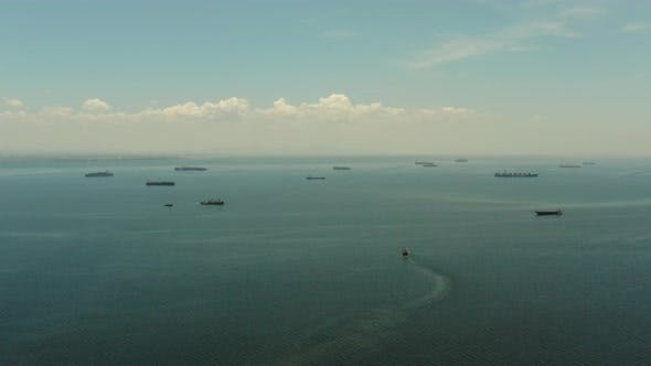 Manila Bay with Ships Aerial View