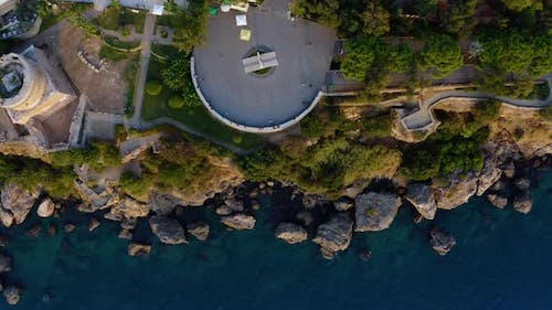 Aerial View of Observation Deck on the Rocky Seashore